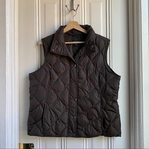 Lands' End Brown Quilted Down Puffer Vest